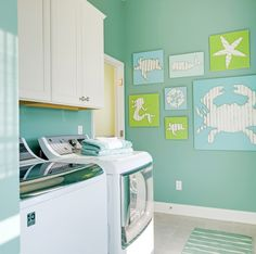 beachy turquoise laundry room
