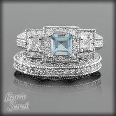 Princess Cut Aquamarine and Diamond Wedding by LaurieSarahDesigns