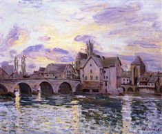 The Bridge at Moret at Sunset by Alfred Sisley Size: 60x75 cm Medium: oil on canvas