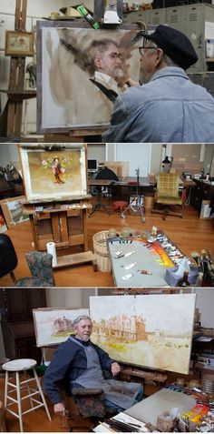 -Richard Schmid- notice how he organizes his paint mixing into a continuous rainbow