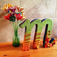 DIY 3D letters decorated with yarn and buttons