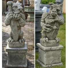 Concrete Gargoyles on Plinths (Pair)-Garden Statues/Ornaments: Amazon.co.uk: Kitchen & Home
