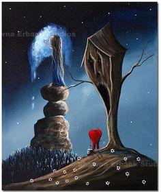 GOTHIC FANTASY ART print erback heart tree surreal fantasy rocks girl blue sky tree house brown flowers. $20.00, via Etsy.