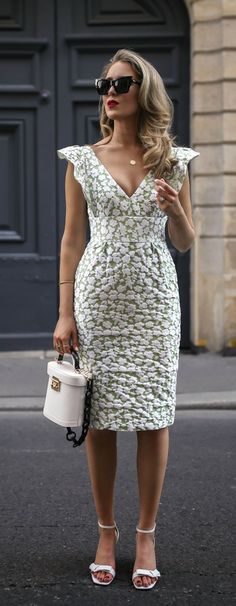 Click for outfit details! // light green and white floral print jaquard v neck midi dress with ruffled sleeves, white open toe low heel sandals, white box bag with black straps {ML Monique Lhuillier, Mark Cross, spring style, summer outfit, classic style, what to wear, fashion blogger}