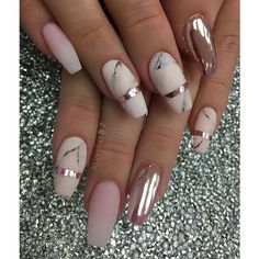 55+ Chrome Nail Art Ideas ❤ liked on Polyvore featuring beauty products, nail care, nail treatments, nails and beauty