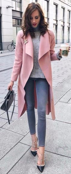mixing pink with grey | office attire idea