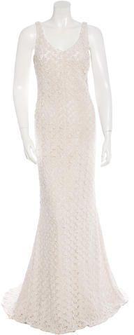 Badgley Mischka Ribbon Embroidered Sleeveless Gown w/ Tags Badgley Mischka, Ribbon, Ivory, V Neck, Gowns, Tags, Stylish, Wedding Dresses, Women