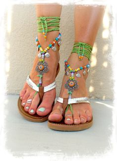 BOHEMIAN barefoot sandals PEACOCK FEATHER for many by GPyoga