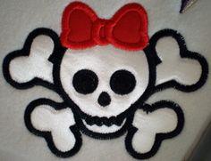 boy and girl skull and cross bones embrodery design. *favorite*