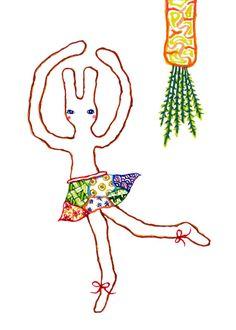 A Ballet Bunny and A Carrot (Print), rabbit print, children illustration, animal print, nursery decor, reproduction, bunny illustration