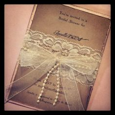 Sample - Lace and pearl hand made invitation - Wedding/Shower invitations on Etsy, $6.88 AUD