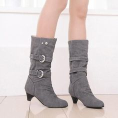 Metallic Buckle Suede Slip On Mid Calf Boots