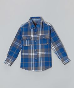 Look at this Chalmon's Blue & Gray Plaid Button-Up - Infant, Toddler & Boys on #zulily today!