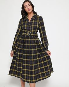 Meet 'Shannon' our vintage inspired navy check midi swing dress. Perfect for the colder months with full length sleeves it also comes fully lined. Vintage Inspired Dresses, Vintage Dresses, Yoshi, Bordeaux, Blue Check, Models, Swing Dress, Get The Look, Pleated Skirt