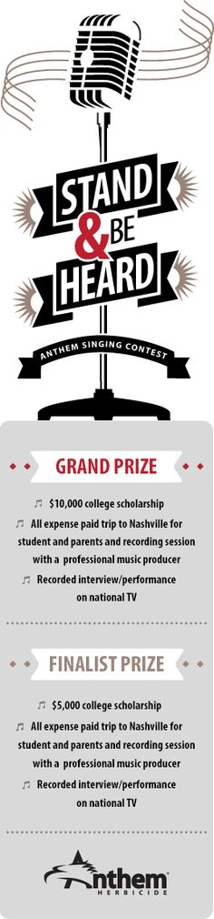 $10,000 Anthem Singing Contest for students 13-21. Deadline June 20.