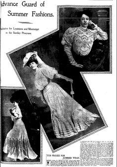 "Article about our ancestors' summer fashions, published in the Times-Picayune newspaper (New Orleans, Louisiana), 11 February 1906. Read more on the GenealogyBank blog: ""Vintage Fashion: Our Ancestors' Summer Apparel."" http://blog.genealogybank.com/vintage-fashion-our-ancestors-summer-apparel.html"