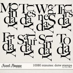 Free Days of the week digital stamps.