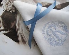 "Something Borrowed, Something Blue Vintage Monogrammed Letter ""R"" Wedding Hankie ~ Available at The Vintage Marketplace at Blue Thistle Paperie!  Click  here for details or to purchase https://www.etsy.com/listing/223737384/something-borrowed-something-blue"