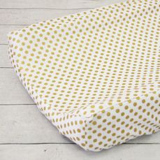 Caden Lane's Gold Dot Changing Pad Cover, matches any nursery. Perfect for boy or girl.