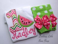 Baby Girl First Birthday Watermelon Outfit by DarlingLittleBowShop