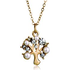Necklace & Pendants - golden christmas tree life clear crystal pearl pendants Image. #TreeOfLife #Jewelry