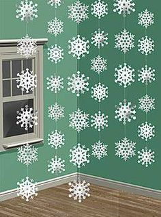 Our Snowflake Ceiling Danglers will add a winter feel with there shimmery white design. Each snowflake danglers are made of plastic and are on 7 foot strand for easy decorating.
