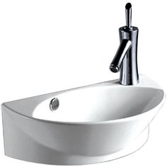 Whitehaus WHKN1131 Isabella half-oval wall mount basin with integrated oval bowl, overflow, right offset single faucet hole and center drain