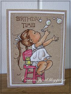 Carina-crafts: Bubbles Girl Mo Manning, Handmade Card Making, Kids Birthday Cards, Beautiful Handmade Cards, Penny Black, Digital Stamps, Kids Cards, I Card, Making Ideas