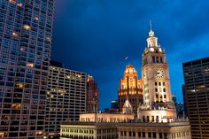 Wrigley Building and Tribune Tower from The Terrace at Trump, Chicago by Jeff DeNapoli, via 500px