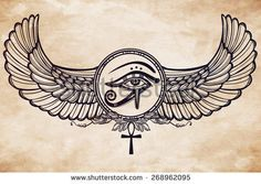 Hand-drawn vintage tattoo art. Vector illustration, tribal symbol of pharaoh, element of ancient Egypt design in linear style. The eye of god of sun Ra Horus with wings and ankh. Isolated, aged paper
