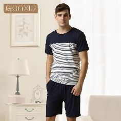 Qianxiu Casual Pajama Set For Men Summer Dress Suit Knitted Cotton Sleepwear 8ead815d1