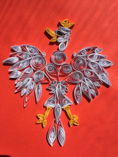 Polish emblem quilling white red eagle with gold crown poland polish work quilling Gold Crown, Quilling, Poland, Eagle, Drawings, Red, Cards, Golden Crown, Bedspreads