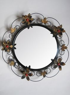 Vintage 1960s Floral Design Convex Wrought Iron Mirror from Virtual Vintage Clothing