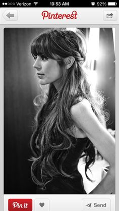Long hair with bangs half updo. I wish I could pull off this look.