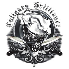 Chef Skull 5: Culinary Brilliance - A cool chef skull design by sdesiata on t-shirts, hoodies, phone covers, and more, @ RedBubble! E-mail : sdesiata@yahoo.com