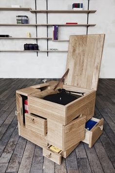 Wooden chest with many drawers. Not sure how useful this is, but it's neat!