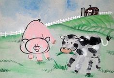 Pig and Cow by 4yr old.  Your custom canvased handprint artwork is available to purchase via PattycakeArt.com or via Etsy (keyword PattyakeArtworks)