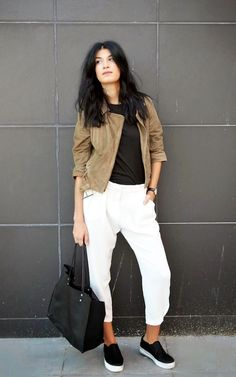 suede moto jacket, black t-shirt, slouchy white pants & slip-on sneakers #style #fashion