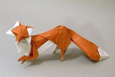 Amazing paper fox. Perfect match for color and attitude of a fox.