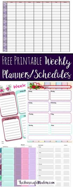 Free Printable Weekly Planners: 5 different designs for whatever your needs. Horizontal, vertical, colorful, black/white. Link to more free printables.