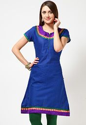 Blue coloured, printed kurta for women from the house of Anahi. Made from Jacquard fabric, this thigh-length kurta features short sleeves and a round neck.