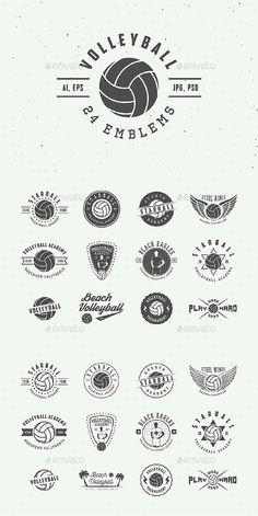 Vintage Volleyball Emblems Templates PSD, Vector EPS, AI Illustrator