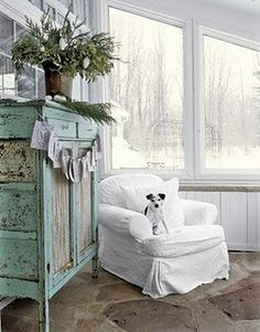 white slip covered chair-chippy cabinet
