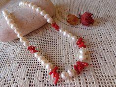 Collana perle di fiume e corallo bambù collana di Myspecialgift