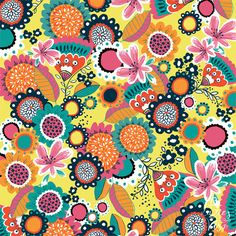 sketch 106 Fun Patterns, Pretty Patterns, Cute Wallpaper Backgrounds, Cute Wallpapers, Big Flowers, Pho, Pretty Pictures, Gouache, Surface Design