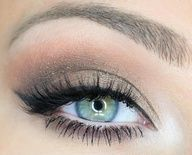 Ice, glitter, soft, bright and light makeup for green eyes