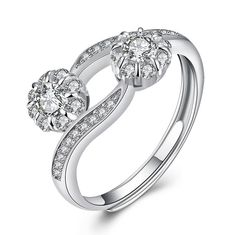 Round Cut White Sapphire S925 Silver Halo Promise Rings
