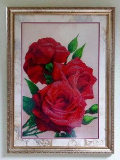 Red roses Picture embroidered with beads Embroidered