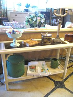 Vintage rattan Side Table painted with Annie Sloan Chalk Paint® in Old Ochre
