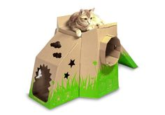 MeowPlayHouse made from card board boxes. Perfect for cats!